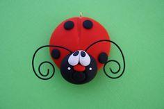 Personalized Clay Lady Bug Christmas Ornament. $7.50, via Etsy.
