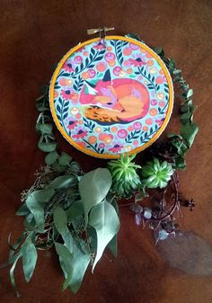 Handmade Embroidery Hoop ArtWall Decor Bohemian Boho Folk