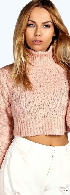 Diana Turtle Neck Cable Crop Jumper - Knitwear - Street Style, Fashion Looks And Outfit Ideas For Spring And Summer 2017