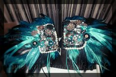 Teal Feather Shoulder Pads (By @Ooh Outre)