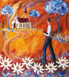 Portchie - Off to church Art Painting, Illustration, Creative, Decoupage Paper, Painting, Blue Art, Art, Heart Art, Pictures To Paint