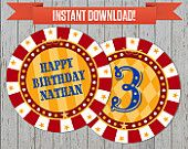 Circus Party / Carnival Party Printable Birthday Labels - Editable PDF file - Print at home