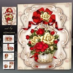 Vintage Basket with Red Cream Roses Mini Kit on Craftsuprint designed by Atlic…