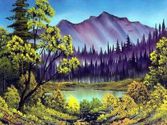 Peaceful Landscape Paintings by Bob Ross  - Bob Ross  Landscape Paintings : Hidden Lake  15