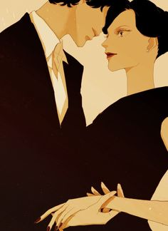 Irene Adler and Sherlock. I would ship them if John and Sherlock weren't absolutely perfect together. Sherlock Fandom, Sherlock Bbc, Fan Art Sherlock, Sherlock And Irene, Watson Sherlock, Jim Moriarty, Funny Sherlock, Sherlock Poster, Sherlock Season