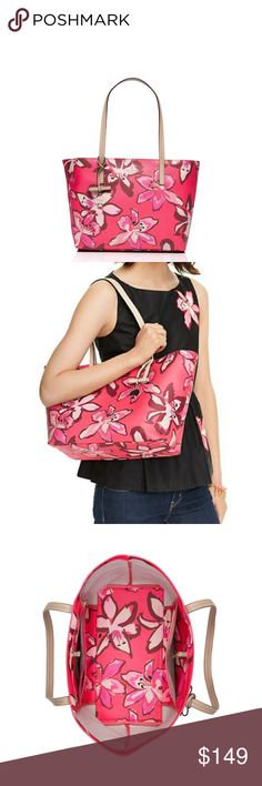 """🎁🆕 Kate Spade Hawthorne Lane Tiger Lily Ryan Fabulous new with tags open-topped tote with a roomy interior. The hawthorne lane ryan is the perfect carry-all, to carry almost anywhere. …You'll never want to put it down.  13.7"""" h x 13.1"""" w x 3.9"""" d. Drop length: 9.4'' Tiger lily floral printed on grainy vinyl with smooth cowhide trim 14 karat gold plated hardware Dog clip closure. Interior zip and double slide pockets. Embossed ksny signature and light gold spade stud kate spade Bags Totes"""