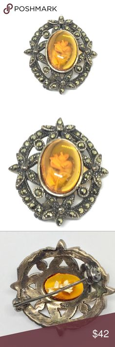 925 Sterling Marcasite Amber Rose Pin 925 sterling silver stamped marcasite pin with center stone made up of amber encasing a rose. So delicate and beautiful! Excellent vintage condition. Accepting reasonable offers! Vintage Jewelry Brooches