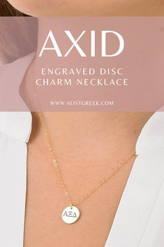 Available in sterling silver, rose gold and gold and 14k solid gold. This engraved AXiD greek letter ring makes the perfect accessory to add to your sorority jewelry collection. Shop at www.alistgreek.com! #discnecklace #charm #sororitynecklace #customgift #personalized #handmade #custom #sororityjewelry #necklace #greekletters #sororityletters #loveyourletters #bidday #graduaton #biglittlereveal #alphaxidelta #axid Alpha Epsilon Phi, Alpha Xi Delta, Alpha Chi Omega, Gamma Phi, Letter Charm Necklace, Letter Charms, Sorority Letters, Sorority Gifts, Sorority Big Little