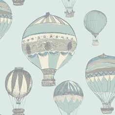Victorian - Hot Air Balloon - Teal / Grey / Silver - Vintage - Wallpaper