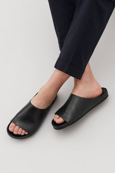 These casual leather sandals are made from smooth leather. A slip-on style, they feature slight padding on the outsole and a comfortable leather footbed. Leather Sandals, Shoes Sandals, Heels, Leather Slippers For Men, Minimalist Shoes, Latest Shoe Trends, Ciabatta, Fashion Shoes, Shoe Boots