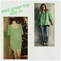 Mint green fun Pretty color. Lite wt. Material. Easy and comfortable to wear. Scoop style neck. Measurements in last photo. Sonoma Tops Blouses