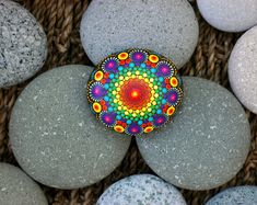 2.4x2.4 inch Hand painted mandala on river rock/mandala stone by Katy