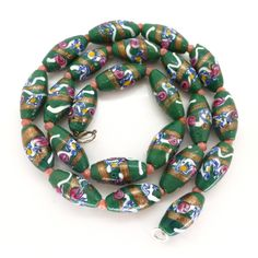 Antique Edwardian Venetian Green Glass Fancy Rose Bead Necklace | Clarice Jewellery