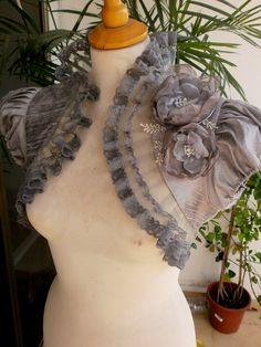 LUNA silver gray dupioni silk bolero jacket by maryandangelika, $104.00