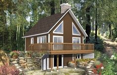 This beautiful cottage is ideally suited for a lakefront or mountaintop location. The house is 26 feet wide by 30 feet deep and provides 1,906 square feet of living space. The 780 square foot basement includes a large den with fireplace, a bedroom, a bathroom and a laundry room. House Plan No.179126 House Plans by WestHomePlanners.com