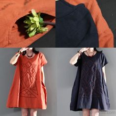 New orange linen sundress loose causal summer dresses short sleeve blouseThis dress is made of cotton or linen fabric, soft and breathy, suitable for summer, so loose dresses to make you comfortable all the time.Measurement:  Size L length 86cm / 33.54