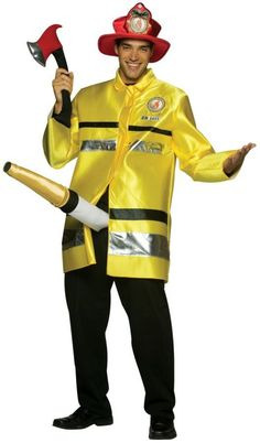Where's the fire? Red hat, yellow jacket, soft axe, and belt with attached hose. Pants not included. One size fits most adults.