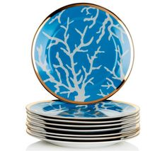 Colin Cowie Set of 8 Blue Coral Dinner Plates