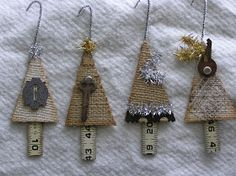 Vintage Style Burlap Trees - The trunks are made from an old folding ruler that was cut into pieces. The fun part was digging into my junk stash and putting the embellishing touches on them! Burlap Christmas Ornaments, Primitive Christmas, Handmade Ornaments, Rustic Christmas, Handmade Christmas, Vintage Christmas, Christmas Holidays, Christmas Trees, Glitter Ornaments
