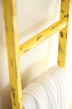 Rustic yellow Ladder. Layered upon walnut color wood with light distressing. A great accent piece or blanket ladder in your home! By linenandlaceshop on Etsy, $49.00