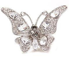 """butterfly ring, Mariah Carey style   Прелестное кольцо """"Бабочка"""" в серебре с роскошными камнями Сваровски"""
