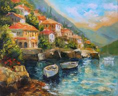 Mediterranean coast, Giclee Art print, Modern wall art decor, Oil painting print, Seascape art, Sea, Boats, Modern artwork, Landscape print by IvMarART on Etsy