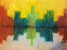 Pastel Drawing of an Abstract of a Scenic of Buildings, 18 X 24, Signed