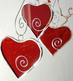Stained Glass Window Suncatcher / Three Hearts picclick.com
