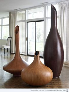Beautiful hand carved and unique wooden vases you can get only at Eclectic Elements! Beautiful hand carved and unique wooden vases you can get only at Eclectic Elements! Wood Vase, Wood Bowls, Vase Centerpieces, Vases Decor, Wall Vases, Inspiration Wand, Vase Transparent, Keramik Design, Design Vase