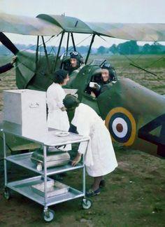 Tea-break in a De Havilland Tiger Moth - RAF - World War 2