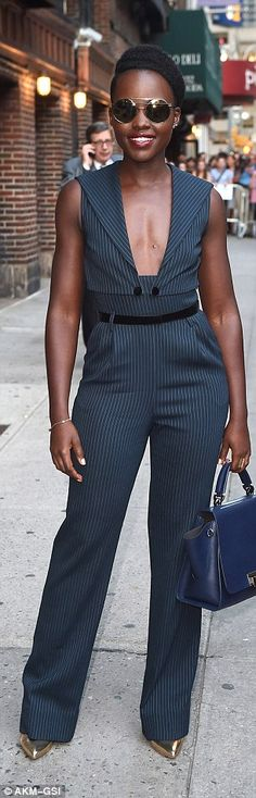 The Mexican-Kenyan beauty, who rose to fame after stealing the show - and an Academy Award - in 12 Years A Slave in 2014, covered her eyes in on-trend round framed shades