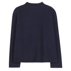 The Row Ismenia Cashmere and Wool Sweater ($605) ❤ liked on Polyvore featuring tops, sweaters, jumpers, shirts, blue, blue top, wool sweater, blue shirt, the row sweater and blue jumper