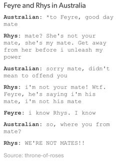 Rhysand and Feyre. Omg I'm Australian and I don't say mate but oh my god this is fucking funny.