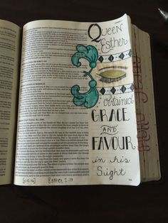 Queen Esther. One of my favorites! Bible journaling. KJV. Bible art. Grace and favour. Esther 2:17 Lindsey Ramsey Bible 2, Scripture Art, Bible Verses, Esther Bible, Bible Doodling, Queen Esther, Bible Readings, Bible Study Journal, Illustrated Faith