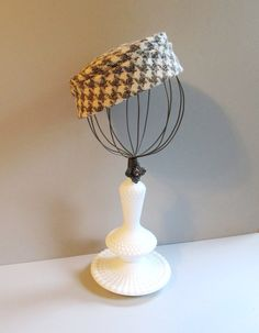 Repurposed White Hobnail Lamp Base and Wire Sphere Hatstand