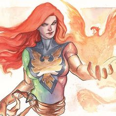 Phoenix by Meghan Hetrick   #phoenix #xmen #marvel #comics #art #watercolor #archespaper #windsorandnewton #painting