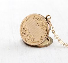 SALE Antique Floral Etched Monogrammed Locket by MaejeanVintage