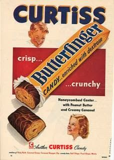 I Love Butterfinger candy bars. Check out these sweet vintage candy ads from the including this Butterfinger ad from Retro Advertising, Vintage Advertisements, Vintage Ads, Vintage Stuff, School Advertising, Vintage Food, Funny Vintage, Vintage Images, Vintage Prints