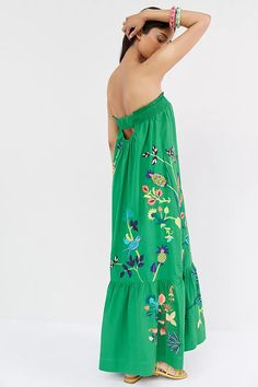 Ruffled Floral Maxi Dress | Anthropologie Oversized Sunglasses, 50 Fashion, Floral Maxi Dress, Anthropologie, Plus Size, Silk, My Style, Model, Dresses