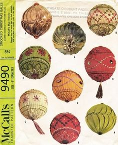 """McCall's Pattern 9490 Vintage 60's Smocked Christmas Balls - 4"""" Ornaments!"""