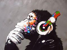 CANVAS Banksy Street Art Print DJ MONKEY chimp PAINTING 70cm