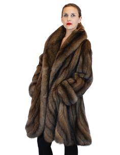 NATURAL RUSSIAN SABLE FUR ⅞ COAT W/ FITTED BODY AND LARGE SWIRL BOTTOM