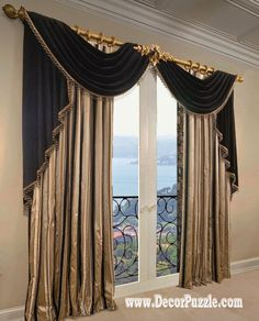 french curtains ideas, modern luxury curtains black scarf The best designs of French country curtains for french doors and blinds, how to choose the best design of French curtains for living room hall, bedroom, kitchen French Country Curtains, French Curtains, French Country Living Room, Black Curtains, Drapes Curtains, Purple Curtains, Bedroom Curtains, Double Curtains, Patterned Curtains