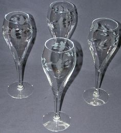 "Princess House Tulip Champagne Hertiage Flute 7 3/4"" Etched Crystal Wine  #432 #PrincessHouse"