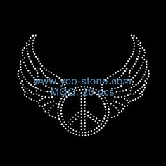 Rhinestone Iron on Transfer Hot fix Motif crystal Fashion Design  Wings of peace