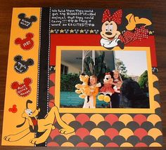 Disney. Use PK's circle punch for the pattern. Wood pattern, dark green and a lighter green for the Mickey photo's at AK.