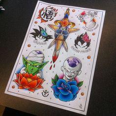 Dragon Ball Z Tattoo Flash Sheet by Hamdoggz.deviantart.com on @DeviantArt