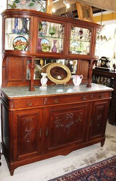 Exquisite French Antique Carved Oak Louis XVI Marble Top Bar Buffet Sideboard LouisXIIIXIVXVXVI