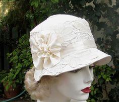 Womens Hat 1920's Edwardian Wedding Hat Vintage Style Cloche Bridal Custom Made Hats in Ivory. $175.00, via Etsy.
