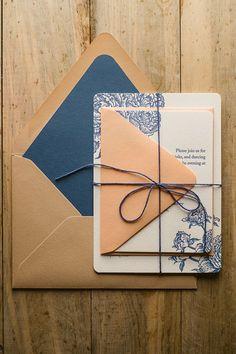 PEONY WEDDING INVITATIONS, navy, peach, kraft wedding invitations, invitations with twine, envelope liners, letterpress wedding invitations, peonies